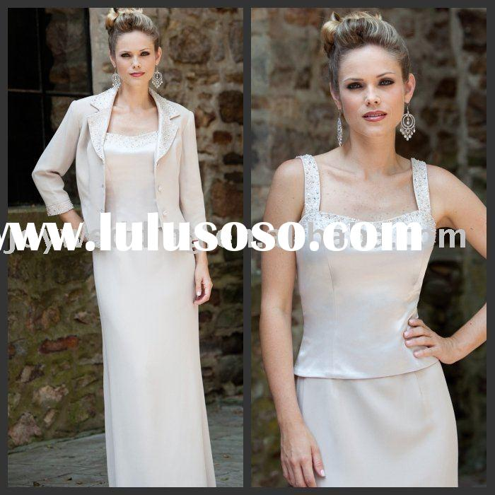 MM0559 with jacket sleeve white satin mother of the bride dress