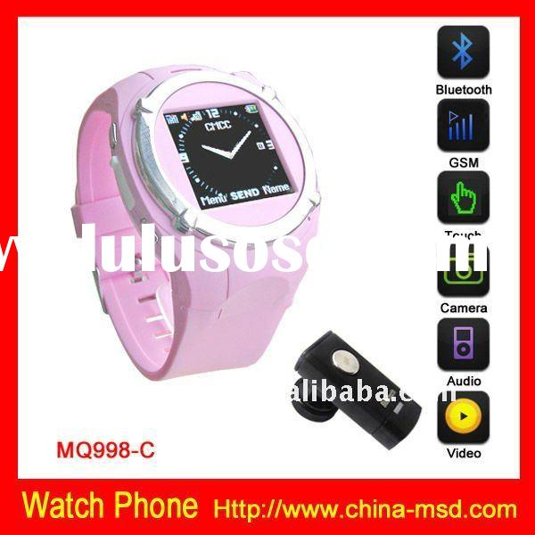MQ998 GSM Quad band touch screen cell phone watch with bluetooth function