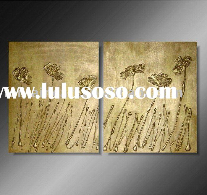 Modern Decorative flower oil painting,bronze,textured,two panels