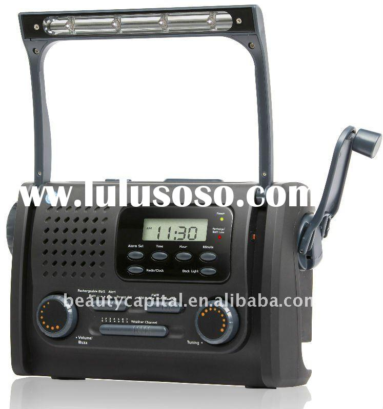 Multifunction flashlight hand crank dynamo charger DAB Radio with lamp and mobile phone charger