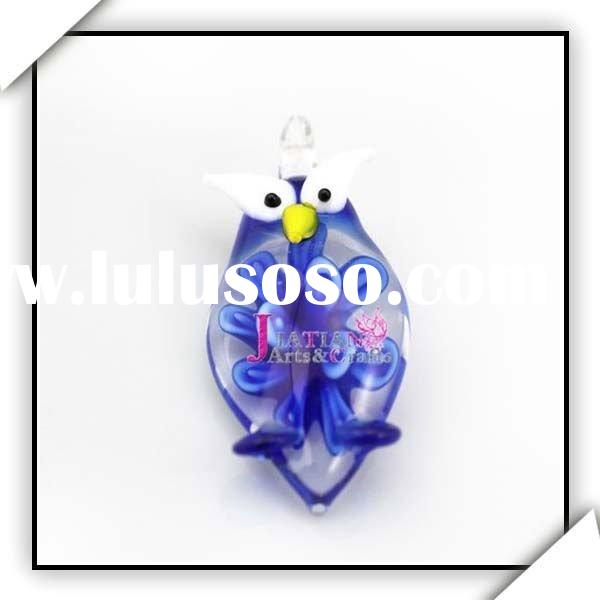 New Fashion Lampwork Glass Animal Pendant Owl JTFP-30