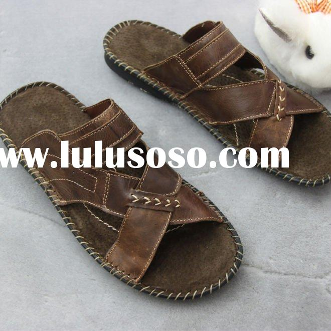 New style !!! men leather sandals and slippers