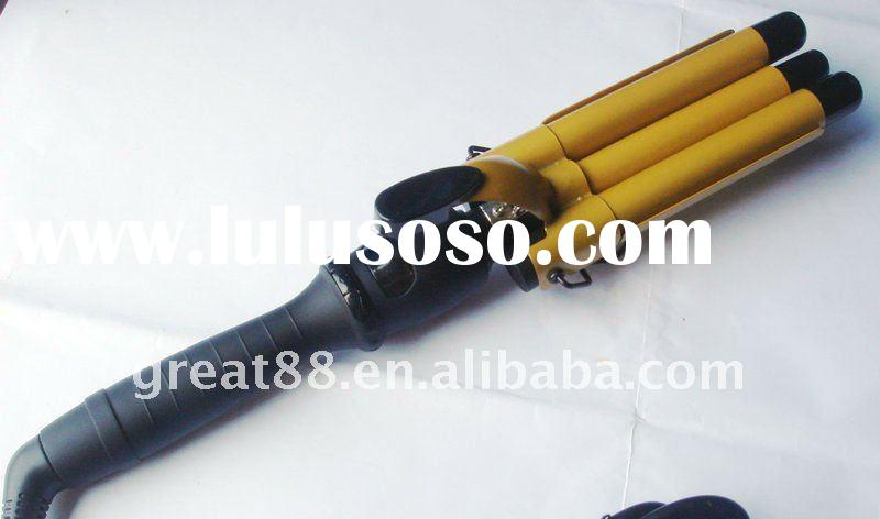 Newest digital LCD hot sellling golden waves ceramic hair curling iron