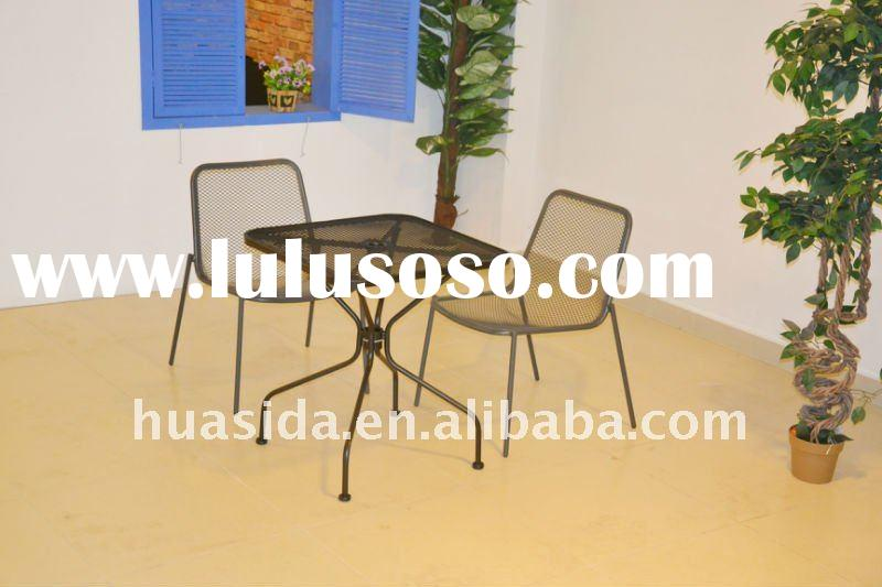 Outdoor Textured Wrought Iron Table and Chair for Promotion
