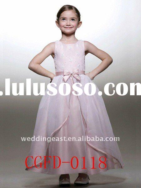 Pink Bateau Ankle Length Organza Flower Girl Dress CGFD-0118
