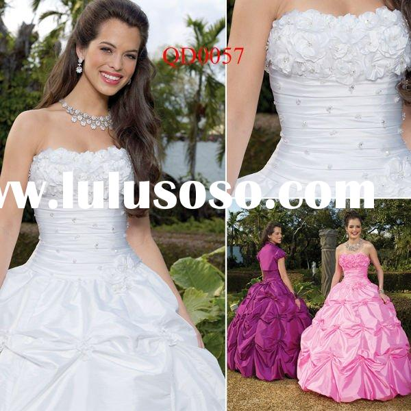 QD0057 Prom Dress Strapless White Quinceanera Dress 2012 with Bolero