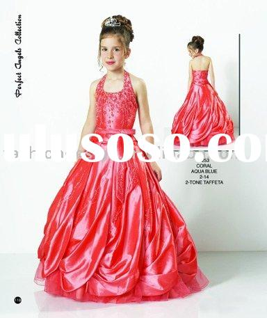 RG007 Pageant two tone taffeta coral little queen children dress Flower girl dresses