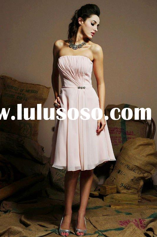 Sheath nice wedding gown strapless knee length chiffon pink Bridesmaid Dresses
