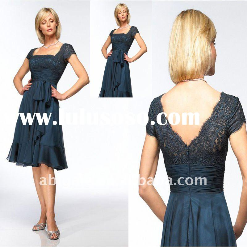 Short sleeve Square neck Knee length A-line Chiffon Vintage Mother of the Bride Dress