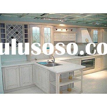 Solid Oak Wood Kitchen Cabinets with Granite Countertops and Kitchen Sink