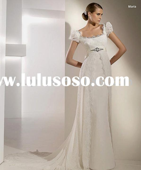 Square neckline short sleeves lace wedding dress/wedding gown, high quality cheap bridal gown with b