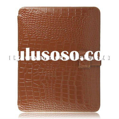 Stand function for iPad Brown Leather Case with Luxury Crocodile Skin