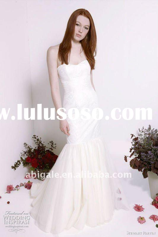 Strapless Sweetheart Mermaid Sweep train Tulle Custom Wedding Dress(NS11580)