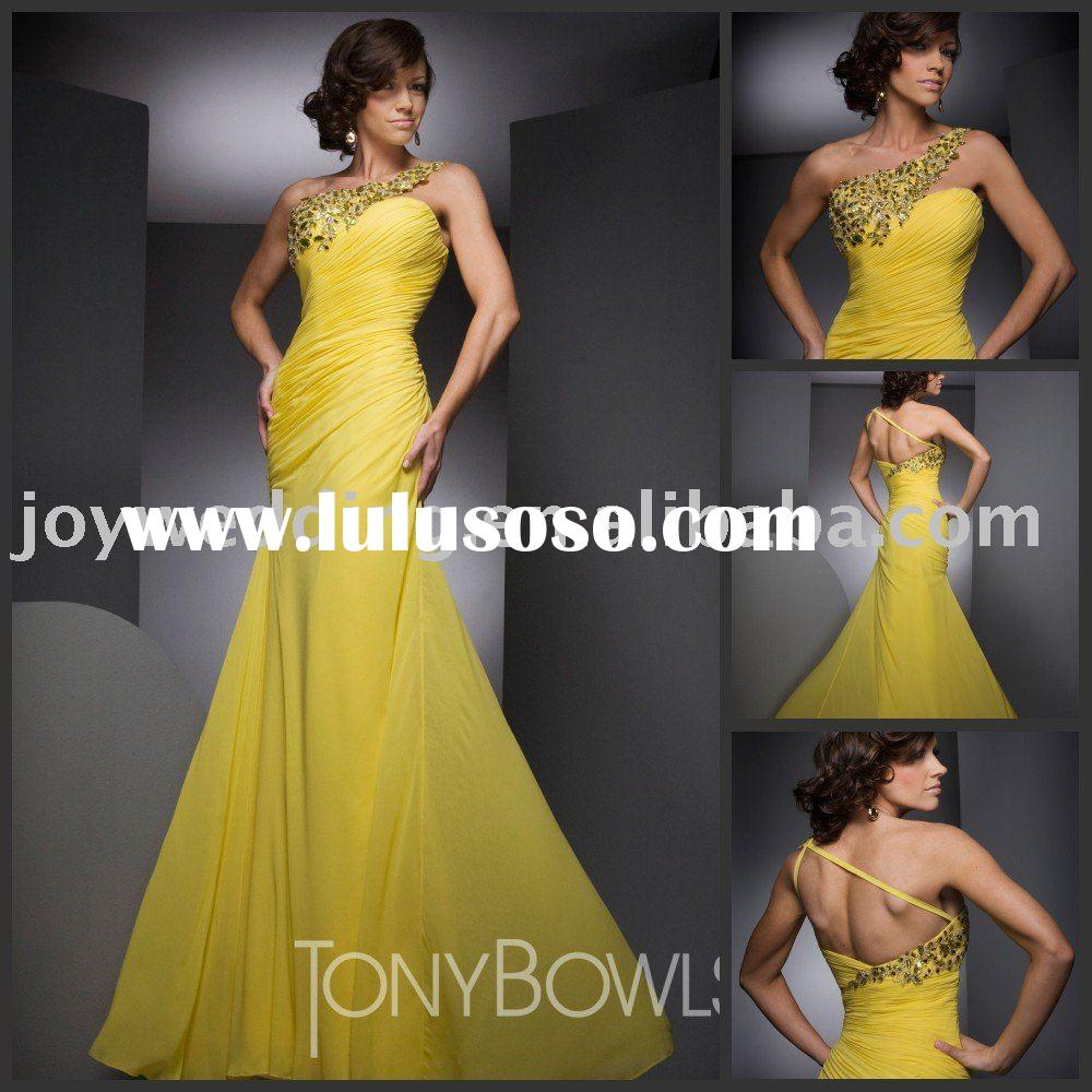 TBE21001 Free shipping 2012 Fashion Tony Bowls one shoulder beading yellow prom dress