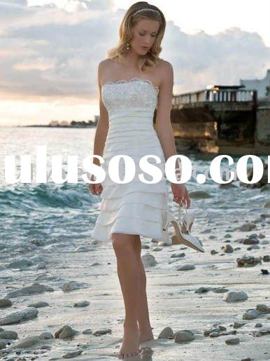 Tea Length Strapless White Organza A line Cheap Casual Beach Wedding Dress SHS653