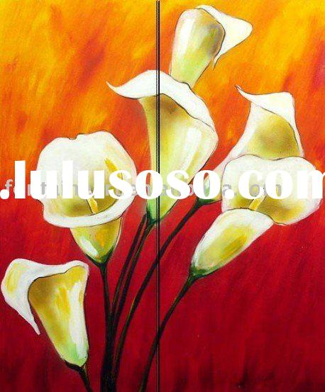 Textured Decorative Flowers White Lilies,Group Oil painting(2 panels)