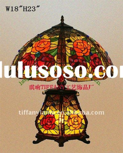 """Tiffany Styled Antique Rose Table Lamp 18"""""""