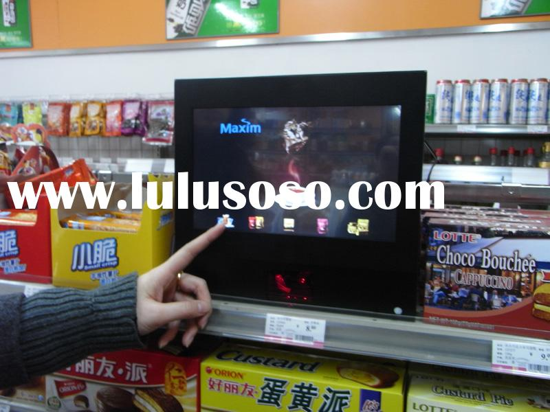 Touch Screen LCD advertising player with built-in bar code reader