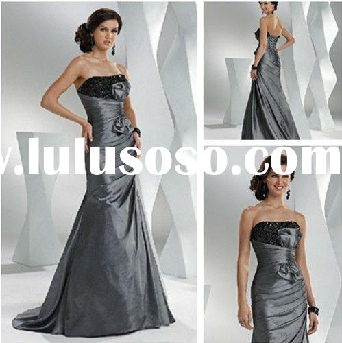 Ultimatedly Charcoal Strapless Taffeta Prom Dresses Long