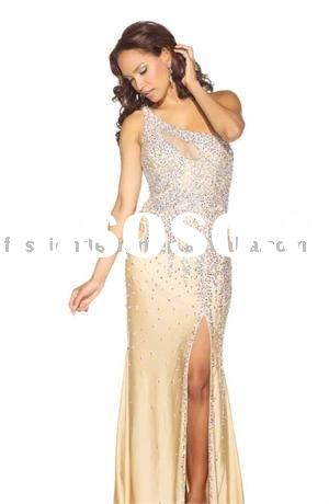 VE604 Charming one shoulder with see through elements fully bejeweled red carpet evening dress