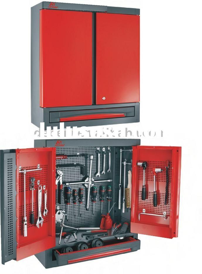 Wall hanging steel tool cabinet, tool storage