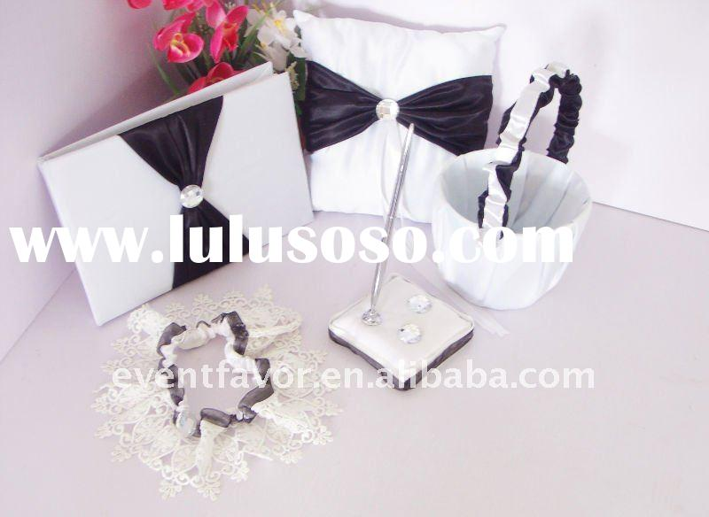 Wedding Accessories Classic Black And White Guest Book, Pen Holder, Ring Pillows,Basket Set