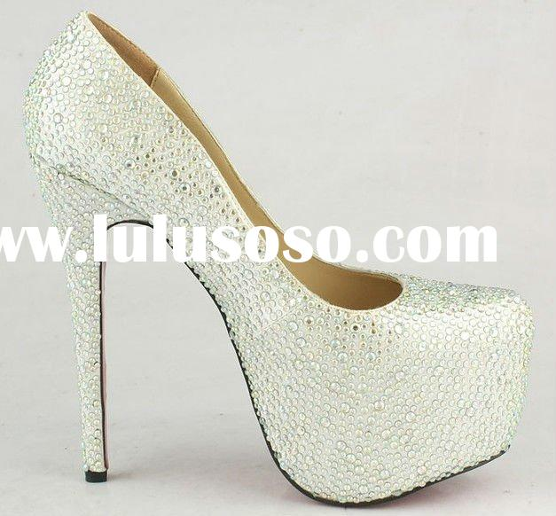 White crystal Rhinestone woman high heel shoes