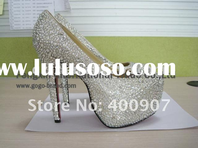 White crystal rhinestone high heel wedding party shoes, designer platform shoes(15cm)