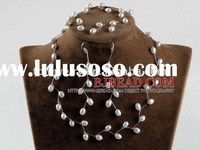 bridal jewelry 6-7mm natural white rice pearl necklace bracelet earrings set T314