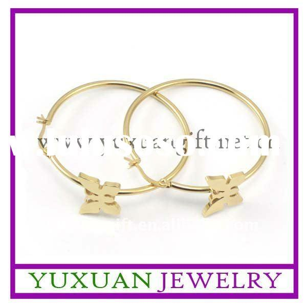butterfly with large ring stainless steel gold-plated hoop earrings