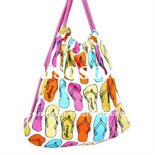 fashion 100% cotton velour printed beach towel bag