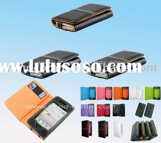 fashion folio leather case for iphone 4