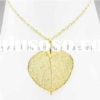 fashion gold plated leaf necklace