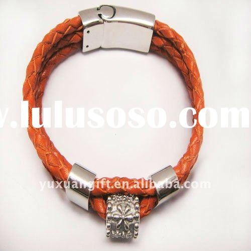 fashion orange stainless steel magnetic clasps flower bracelet
