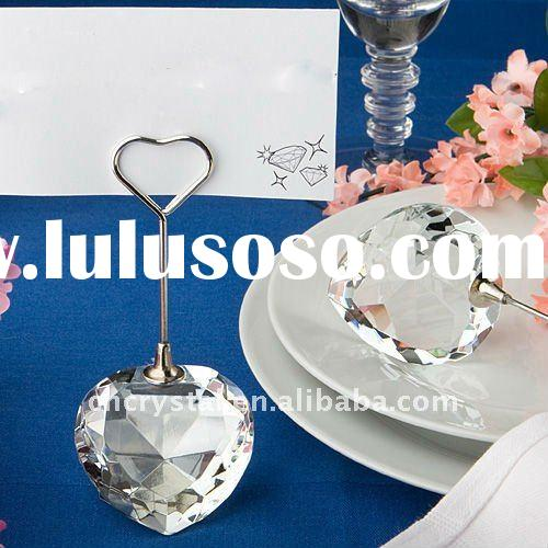heart shaped Crystal Place Card Holder