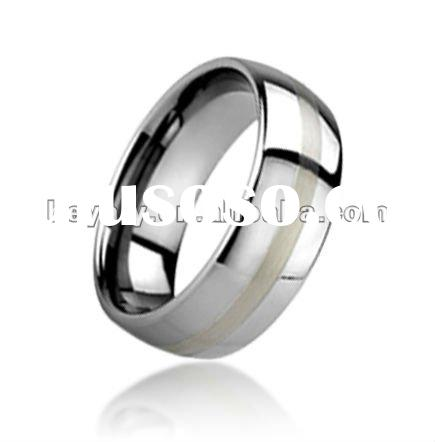 high quality silver inlaid tungsten jewelry