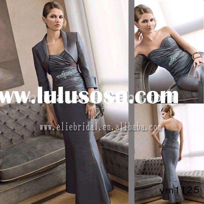 hot sale! free shipping strapless long satin ladies evening gown with jacket