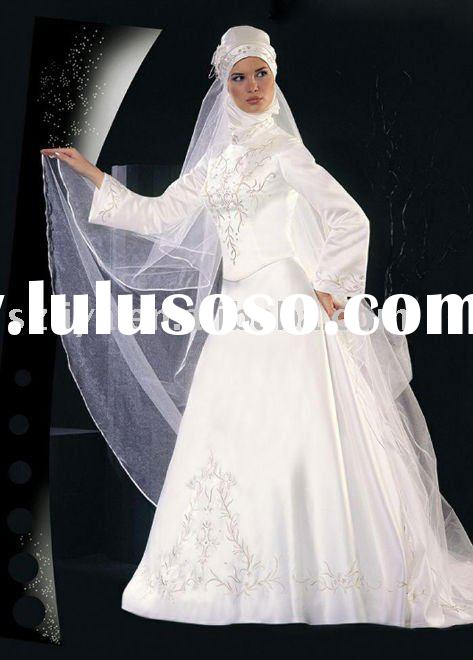 hot sale white high quality cheap muslim dresses