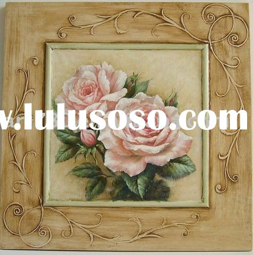 iron crafts decor,flower painting,glass oil painting