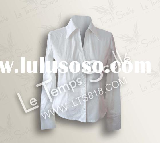 ladies' cotton tunic long sleeve button up collar