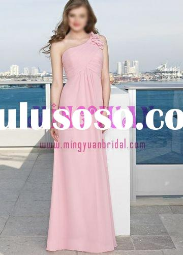 light pink chiffon one-shoulder bridesmaid formal gown bd43