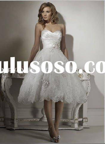 lovely style ,v-neck lace white ,tea-length Maggie MA-790 wedding dress bridal gown