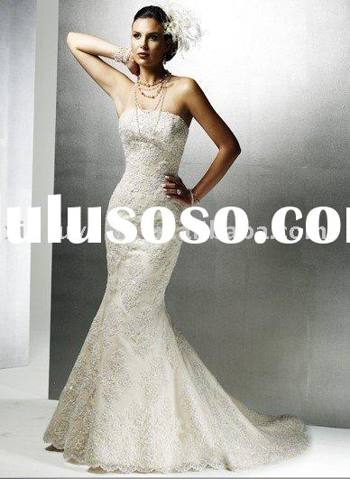 mermaid style vintage strapless lace applique wedding dresses MA-320