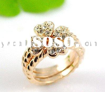 new design gold plated heart shape with zircon ring (AL-0045)