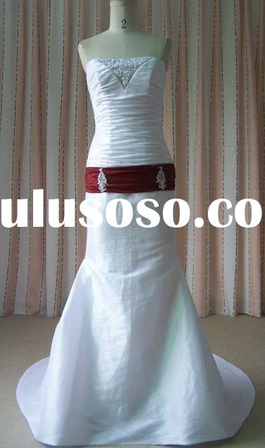 newly classic red sash with beaded,red and white wedding dresses bridal dresses ME2