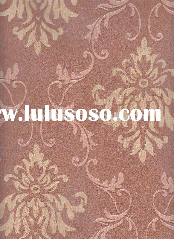 paper backed printed flocked fabric wallpaper for wall special design home hotel KTV