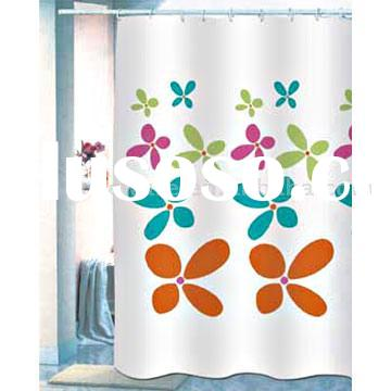 printed flower Polyester Shower Curtain