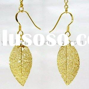 real gold plated leaf earring