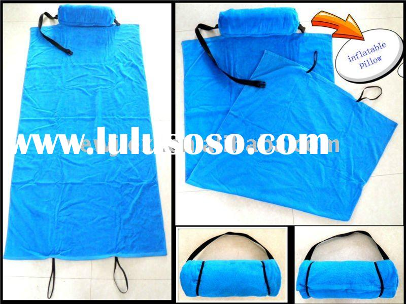 velour printed beach towel with pillow