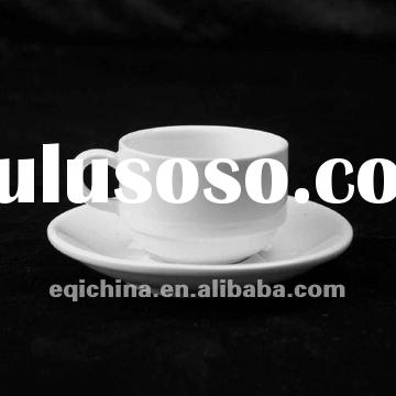 white porcelain ceramic coffee cup and saucer,coffee pair,tea cup and saucer.